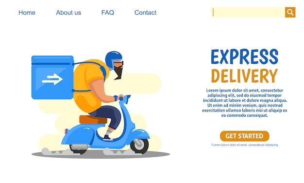 Big guy montando scooter azul motocicleta vintage llevando cajas servicio de entrega urgente.