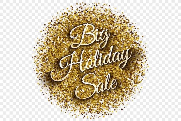 Big holiday sale golden tinsel vector illustration