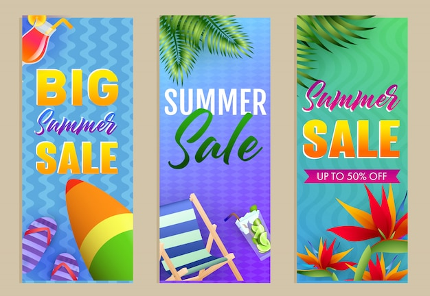 Big summer sale letterings set, chaise longue y tabla de surf