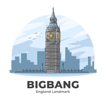 Bigbang clock tower inglaterra landmark ilustración de dibujos animados minimalista