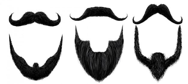 Bigote y barba. estilo de barbas de hombre, máscara de bigotes rizados y conjunto aislado bigote falso vintage