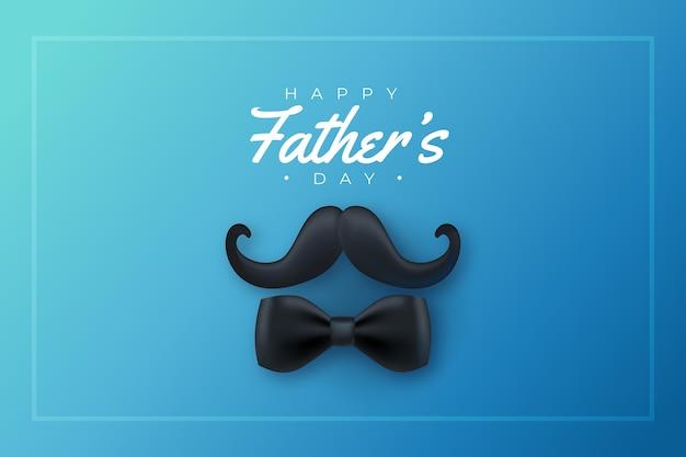 Bigote y corbata de moño realistas del día del padre