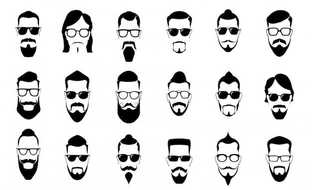 Bigote masculino, barba y corte de pelo. siluetas de bigotes vintage, peinado de hombre y hombre cara retrato vector silueta conjunto de iconos