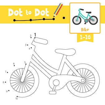Bike dot to dot game y coloring book