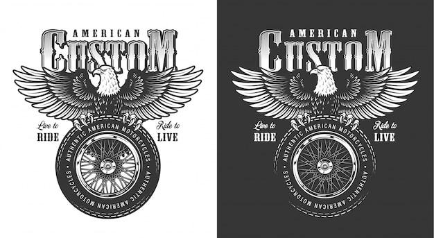 Biker emblema con águila