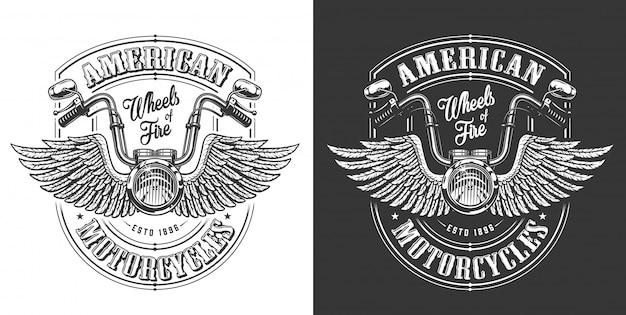 Biker emblema con alas