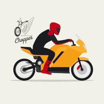 Biker con moto y logotipo.