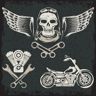 Bikers tema etiquetas grunge con motor de cráneo de moto y pistones