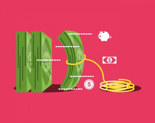 Bill dólar dinero con icono aislado de cuerda