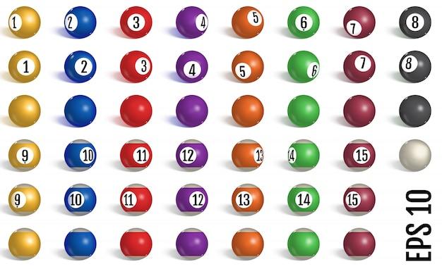 Billar, colección de bolas de billar.