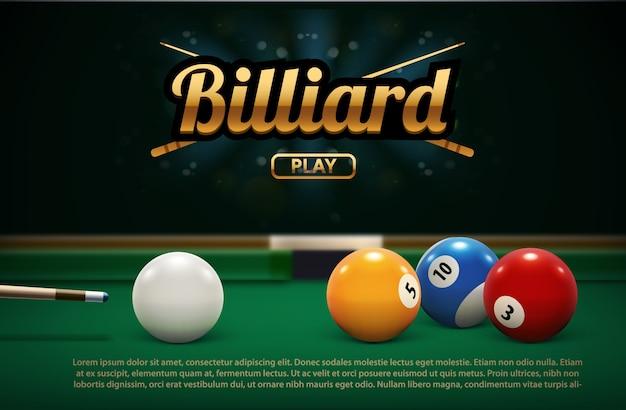 Billar, tabla, frente, vista, bolas, deporte, tema
