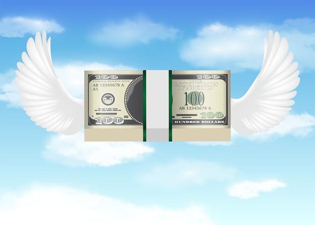 Billete de 100 dólares con ala de pájaro volando en el cielo
