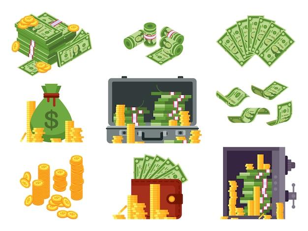 Billete de dinero. bolsa de efectivo, billetera de billetes y dólares en caja fuerte. montones de montones de dólares y monedas de oro isométricas