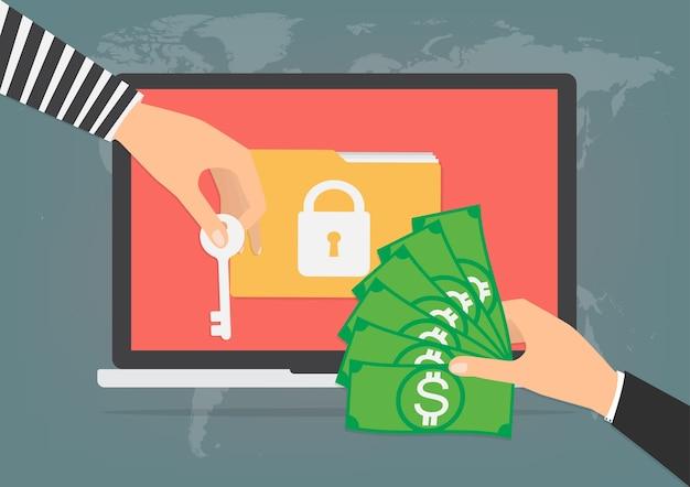 Billete de dinero para pagar virus de malware ransomware