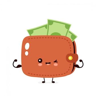 Billete lindo del dinero feliz muestra la cartera muscular. ilustración de personaje de dibujos animados plana. aislado sobre fondo blanco concepto fuerte de cartera