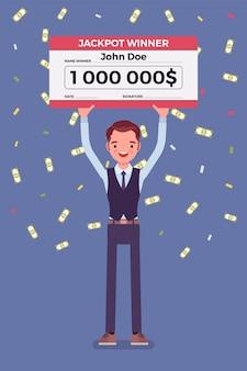 Billete de lotería ganador, hombre feliz con cheque gigante