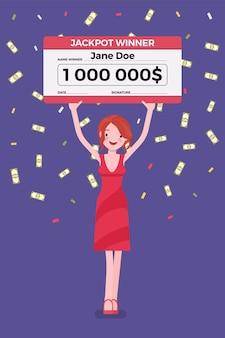 Billete de lotería ganador, mujer feliz con cheque gigante