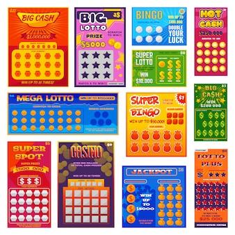 Billete de lotería vector tarjeta de bingo afortunado ganar oportunidad lotería juego jackpot boleto