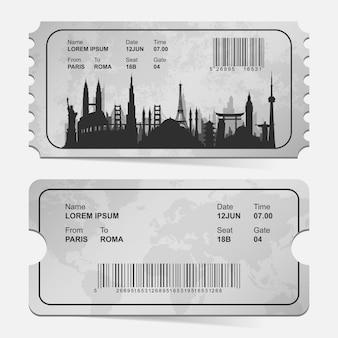 Billete de pasaje de embarque de la aerolínea