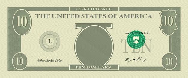 Billete de plantilla de bono de 10 dólares con marcas de agua de patrón labrado y borde. billete de fondo verde, vale de regalo, cupón, diseño de dinero, moneda, cheque, recompensa, diseño de vector de certificado.