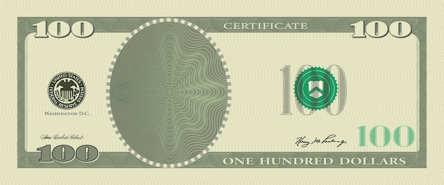 Billete de plantilla de vale de 100 dólares con marcas de agua de patrón labrado y borde. billete de fondo verde, vale de regalo, cupón, dinero, moneda, cheque, cheque, recompensa, certificado de diseño vectorial.