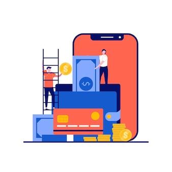 Billetera digital e-transfer con personajes