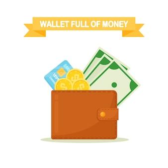 Billetera con dinero de bolsillo, monedas, tarjeta de crédito. monedero con efectivo aislado sobre fondo blanco.