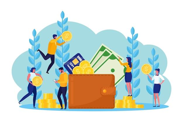 Billetera con dinero de bolsillo, tarjeta de crédito y empleados bancarios.