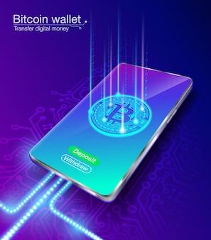 La billetera de dinero digital bitcoin transfiere depósitos y retiros en un teléfono inteligente