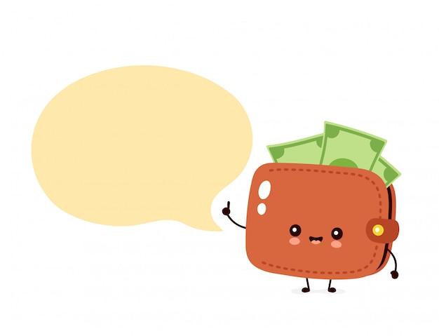 Billetera linda de billetes de dinero feliz con globo de discurso