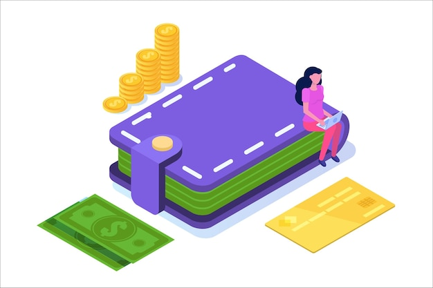 Billetera con tarjetas de crédito, monedas, icono de efectivo. ilustración isométrica.