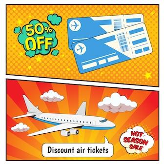 Billetes de avión con descuento banners estilo cómic