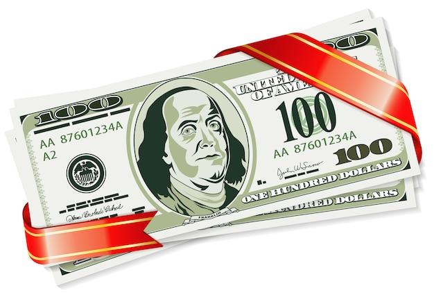 Billetes de un dólar con cinta