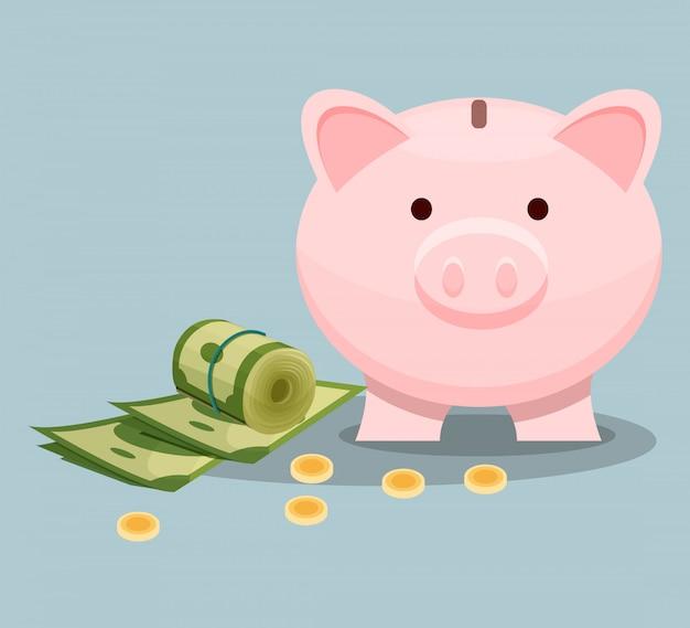 Billetes de un dólar, monedas de oro y hucha rosa. concepto de ahorro de dinero. tema financiero