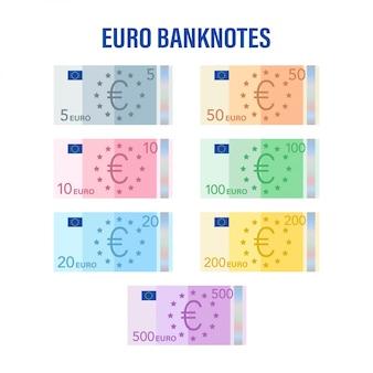 Billetes en euros. euro plano para billetes. concepto de negocio. ilustración de stock