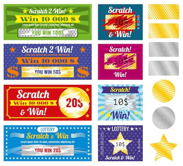 Billetes de lotería de cero y ganar con efecto de las marcas. conjunto