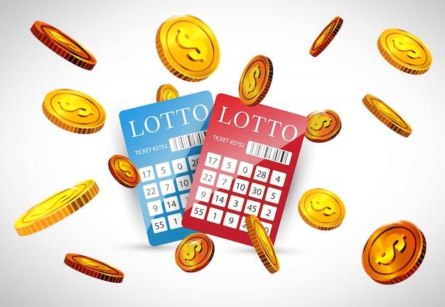 Billetes de lotería y monedas de oro volando. publicidad comercial de juegos de azar