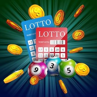 Billetes de lotería, pelotas y monedas de oro volando. publicidad comercial de juegos de azar