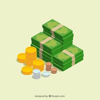 Billetes y monedas en diseño isométrico