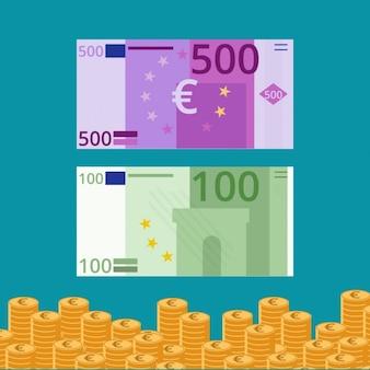 Billetes y monedas de euro en diseño plano