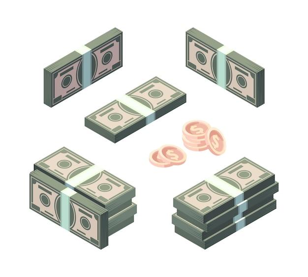 Billetes y monedas de oro