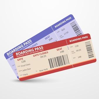 Billetes de pases de embarque de la aerolínea vector concepto viaje viaje
