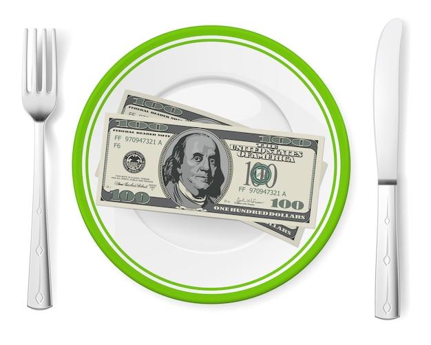 Billetes en un plato