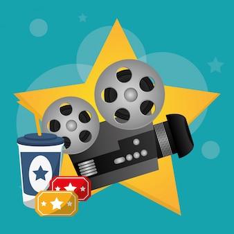 Billetes de proyector de cine y refrescos