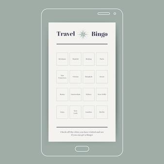 Bingo de ciudades de viajes elegantes historia de instagram