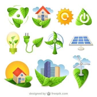 Bio iconos verdes de la naturaleza