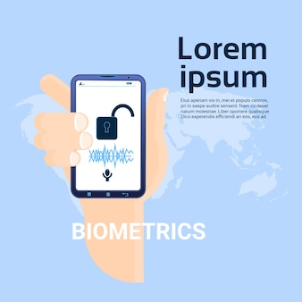 Biometría concepto de escaneo asimiento de la mano teléfono inteligente sobre fondo de mapa mundial sistema de reconocimiento facial