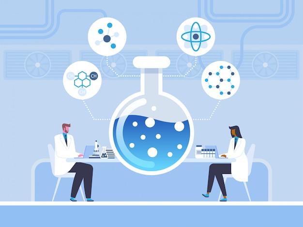 Bioquímica, estudio químico en estilo plano.