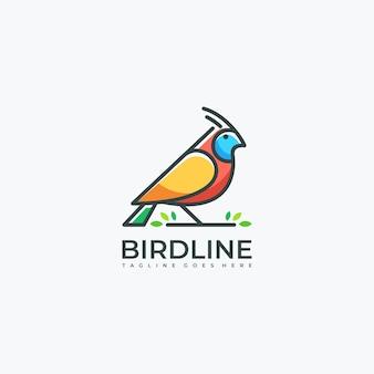 Bird line art leaf