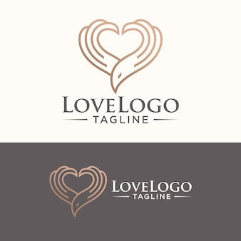 Bird logo heart symbol vector stock